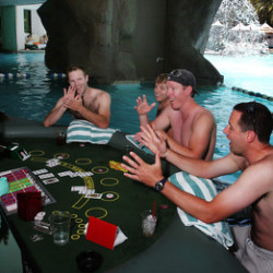 JASON BEAN/REVIEW-JOURNAL  pics of poolside swim up poker tables at the Tropicana's pool in las vegas on july 7, 2008.